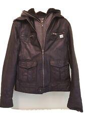 River Island Mens Genuine Leather Black Biker Jacket - Small