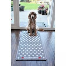 PET REBELLION DOTTY SPOTTY SMALL PAWS GREY BARRIER RUG / DOOR MAT / RUNNER