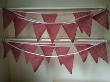 Red Gingham  Fabric Bunting 10 metres Handmade classic Traditional Barn Dance