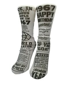 Born In Year Date 1941-2005 Happy Birthday Socks Gift Novelty Personalized