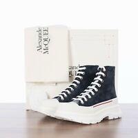 ALEXANDER MCQUEEN 690$ Navy Tread Slick Sneaker Boot