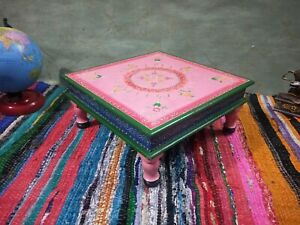 Wood small table chowki embossed painting wooden puja bajot pedestal home stool