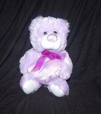 "Kellytoy Light Purple White Teddy Bear Heart Love Ribbon Plush 10"""