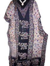 Plus Size Elephant Print Black Kaftan~Long Caftan Casual Dress 16 18 20 22 24 26