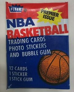 1986 Fleer NBA Basketball unopened Wax Pack Abdul-Jabbar Sticker on back-Jordan?