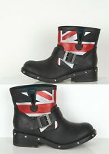 NIB LONDON REBEL Monarch Ankle Boots Bootie Buckle Union Jack Flag 7 Studs Punk