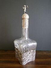 Antique German Hanau 800 Silver Overlay Etched Glass Decanter, 1850-1899
