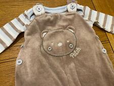 CUTE TU BABY BOYS VELOUR DUNGAREES 6-9 Months OUTFIT SET 2 PIECE BODYSUIT BEAR