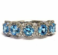 New 925 sterling silver blue white topaz round 5 stone halo band ring 2.7g 7