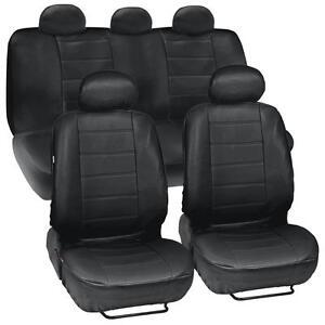 ProSyn Black Leather Auto Seat Covers for Honda Civic Sedan Coupe Full Set