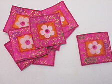 Set of 10 - Pink Embroidered Flower Patch Motif Card Making Arts Crafts #16D111