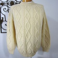 QUILL'S WOOLLEN MILLS HAND KNIT IN IRELAND WOOL SWEATER SZ L LARGE SOLID IVORY