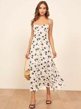 REFORMATION Ivory Blueberries Floral Print EMMIE Tie Shoulder Crepe Midi Dress 8