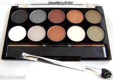 HOT DARK Eyeshadow Palette 10 Shimmer Shades Black GREY Brown White Silver Gold