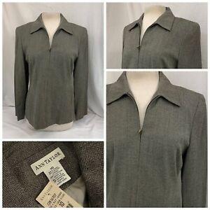 Ann Taylor Jacket Sz 10 Women Tan Herringbone Wool Rayon Zip NWT $158 YGI Q1-292