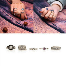 9Pcs Boho-chic Women Punk Vintage Knuckle Tribal Ethnic Hippie Stone Joint Rings