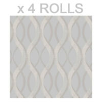 Grey Silver Glitter Wallpaper Uptown Geometric Embossed Vinyl Textured x 4 Rolls