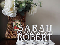Personalised Tea Light Holder with 2 names & hearts, painted white