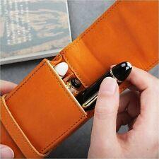 Handmade Genuine Leather Fountain Pen Case Cowhide 3 Pen Holder Case