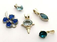 Pendant lot blue faceted stones four sterling sterling silver one 9ct white gold