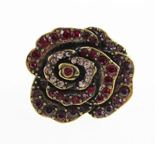 New LUCKY BRAND Pave Red Crystal Rose Flower Brass-Tone Ring Sz 6-8 w/Gift Box