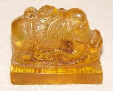 Art Ancienne Chine Antique Signets Seal / Sceau, éléphant Statue, Ambre?