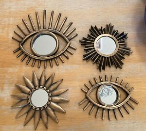 Set Of 4 Plastic Brushed Gold Effect Wall Mirrors - Sun, Star & Eye Design