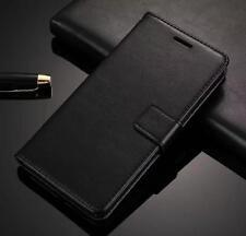 Vintage Leather Wallet Flip Cover Back Case for Samsung Galaxy J7 Pro - Black