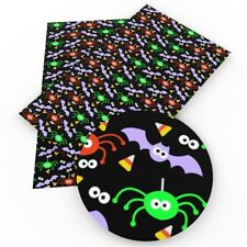 Halloween on Black Faux Leather Leatherette Sheets 20 x 34cm DIY Hair Bows