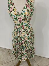Vintage Valentino Silk Dress With Botanical Print And Pleated Skirt - Size 2 - 4