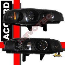 90 91 92 93 Honda Accord Coupe Sedan Black Projector Headlights Lamps RH + LH