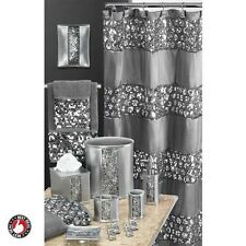 Sequin Bathroom Set Decor Accessories Gray Accessory Kit Modern Silver Bath NEW