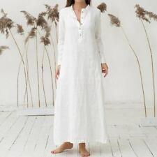 Women's Long Sleeve Casaul Cotton Oversized Maxi Long Shirt Kaftan Dress C0U7