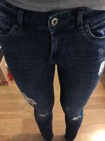 Jean Slim Skinny Femme H&m Taille 36 Bleu Délavé Pantalon Destroy Effet Troué