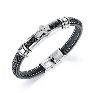 Men's Braided Leather Stainless Steel Cross Bracelet Fashion Christian Wristband