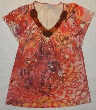 WOMENS paisley BLOUSE SHIRT TOP = MADISON = size Large = WH86