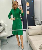 Hobbs Green Amalia Pleated Dress Long Sleeve Midi Shirt Party Cocktail 8 to 14
