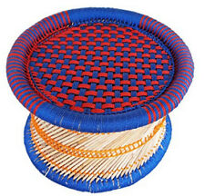 Handcraft Eco-Friendly Cane Bar Mudha Stool Outdoor/Indoor Color:BLUE RED