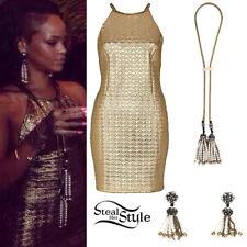 Ladies Rihanna river island 3D gold metallic bodycon sexy dress size UK16 US12