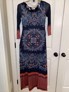 Long sleeves Maxi dress-  Prairie dress- Cotton long dress round collar 70/'s Blue paisley Cotton Maxi dress Size S