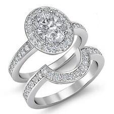 Forma Ovalada Diamante Pavé Set Nupcial Anillo de Compromiso GIA i VS2 Platino