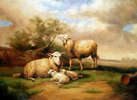 Enchanting Oil painting animals sheep with Little Lambs in sunset landscape art