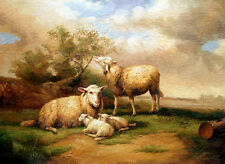 Enchanting Oil painting animals sheep with Little Lambs in sunset landscape