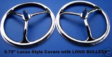 """5.75"""" LUCAS STYLE Headlight Covers w/ LONG Bullets. PAIR"""