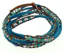 Leather cord Wrap Bracelet with crystal & green aventurine & turquoise beads
