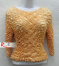 Pretty Golden Yellow Stretchy Long Sleeve Popcorn Top Blouse Shirt