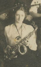 ANTIQUE 1921 JAZZ AGE ORCHESTRA FEMALE SAXOPHONE PLAYER HORN DRUMS VIOLIN PHOTO