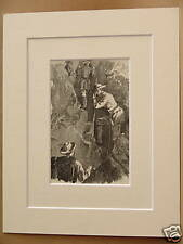 WEISSTHOR CLIMBING ANTIQUE MOUNTED ENGRAVING c1890 10X8