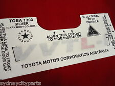 TOYOTA COROLLA SPORTIVO ZZE123 VVTLI SIDE FENDER GUARD DECAL SILVER X 1 GENUINE