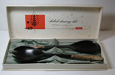 Antique New LUNT Sterling Silver Salad Serving Set Nylon Bowls Fork Spoon As Is